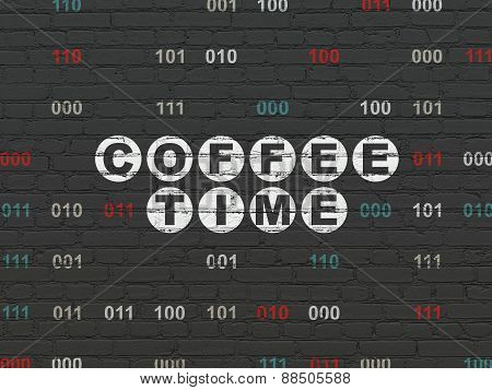 Time concept: Coffee Time on wall background