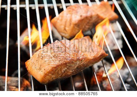 Grilled Salmon On The Flaming