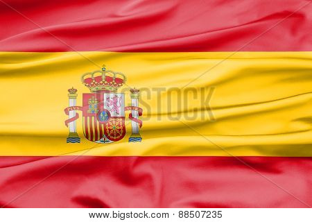 Soft Velvet Looking Flag Of Spain With Folds
