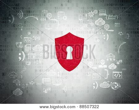 Protection concept: Shield With Keyhole on digital background