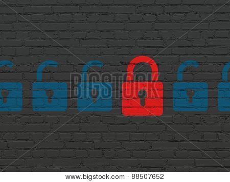 Protection concept: red closed padlock icon on wall background