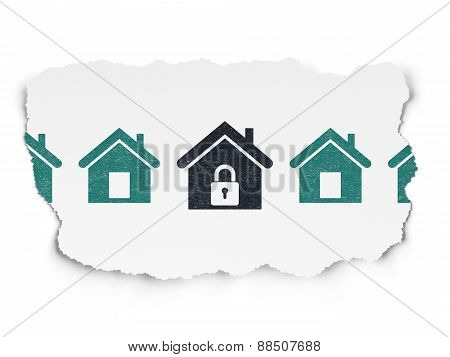 Security concept: black home icon on Torn Paper background