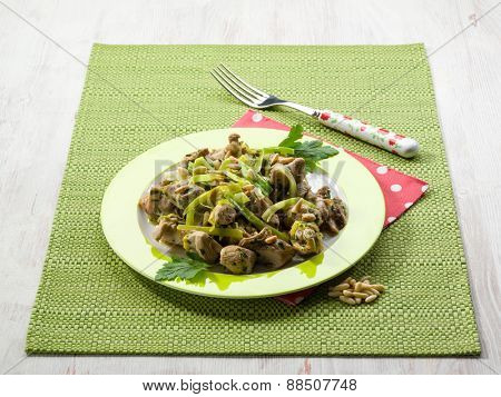 stew meat with leek and pine nuts
