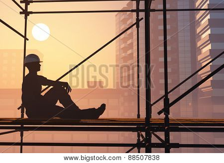 Work is resting against the backdrop of the city.