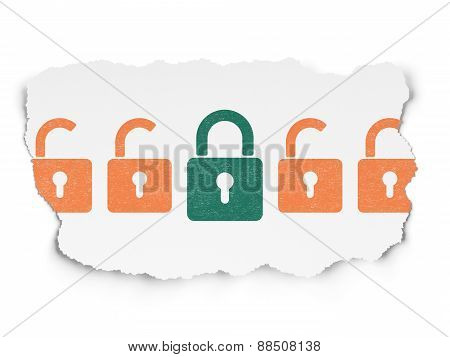 Privacy concept: green closed padlock icon on Torn Paper