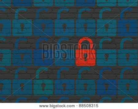 Privacy concept: red closed padlock icon on wall background