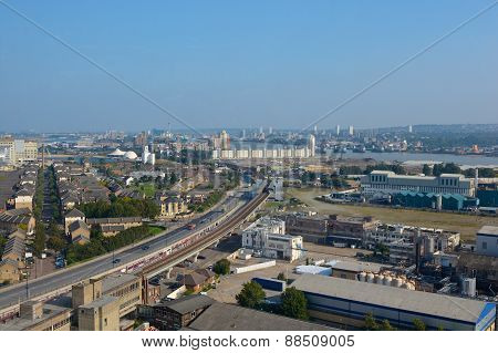 Aerial View Over Docklands, London, England