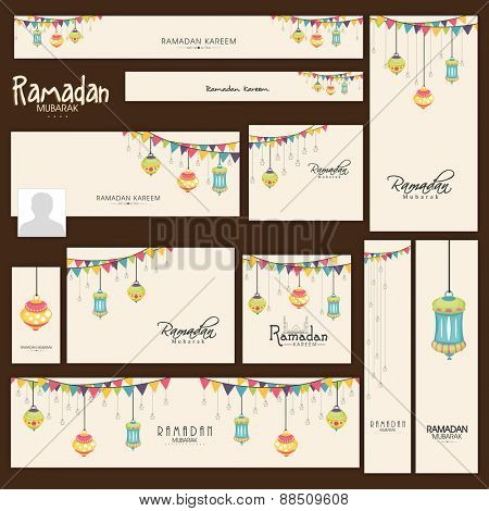 Social media and marketing headers, posts, ads or banners for holy month of muslim community, Ramadan Kareem celebration.