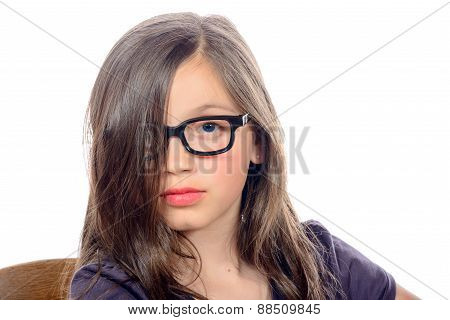 Portrait Of A Pretty Little Girl With Glasses