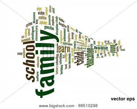 Vector eps concept or conceptual family and education 3D abstract word cloud on white background