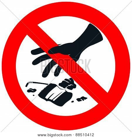 No Litter Sign In White Isolated Background, Create By Vector