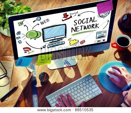 Social Network Social Media Technology Browsing Working Concept