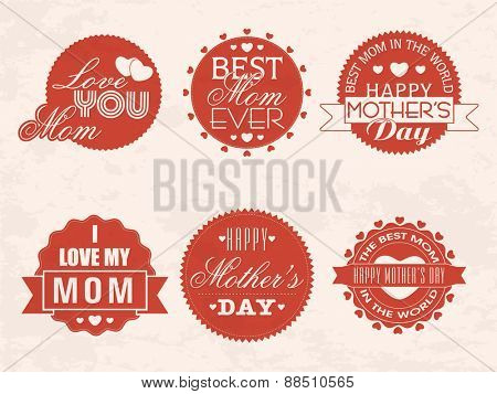 Vintage sticker or label with different beautiful complement for Happy Mother's Day celebration.