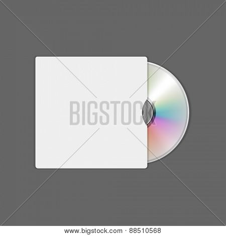 Compact disc and cd box vector mock up template for logotype presentation