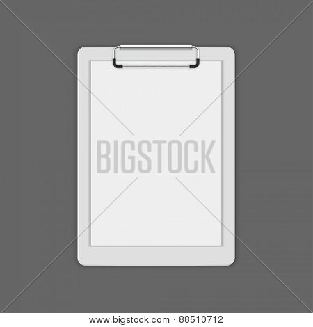 Clipboard with a blank paper vector mock up template for logotype presentation