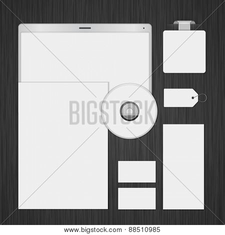 White Logotype presentation corporate identity template Mock up design elements. Vector Business stationery objects, document, business card, label, cd, sale tag and other.