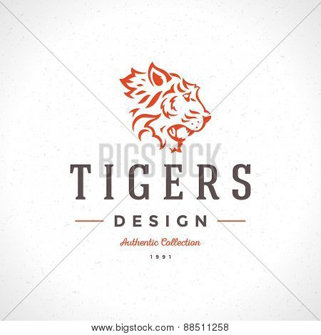 Vintage Tiger Logotype or mascot emblem symbol. Can be used for T-shirts print, labels, badges, stickers, vector illustration.