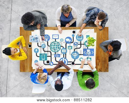 Global Communications Social Networking People Meeting Online Concept