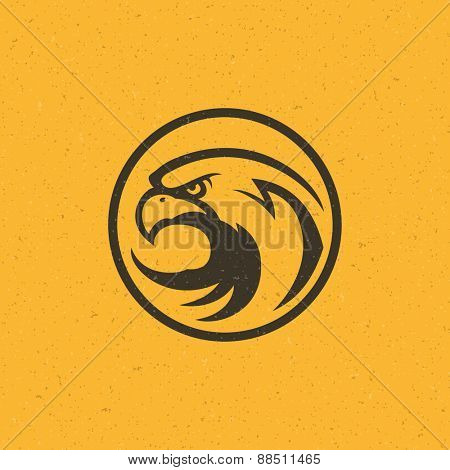 Eagle head logo emblem template mascot symbol for business or shirt design. Vector Vintage Design Element.