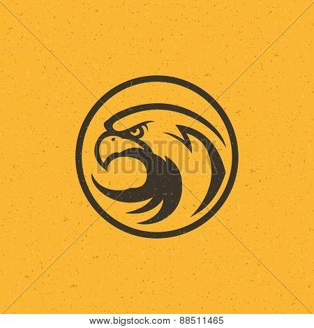Eagle head logo emblem template mascot symbol for business or shirt design. Vector Vintage Design Element.