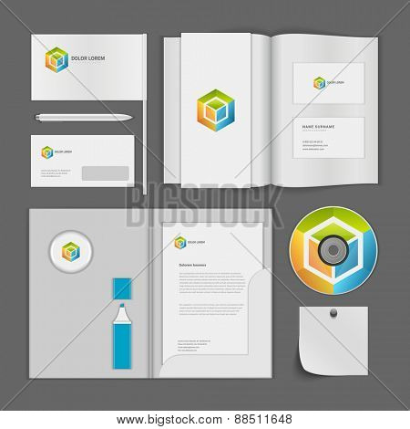 Abstract Logotype corporate identity template Mock up design elements. Vector white Business stationery objects, cd, envelope, document, business card, magazine, folder.