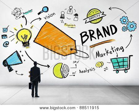 Silhouette Businessman Planning Marketing Brand Concept