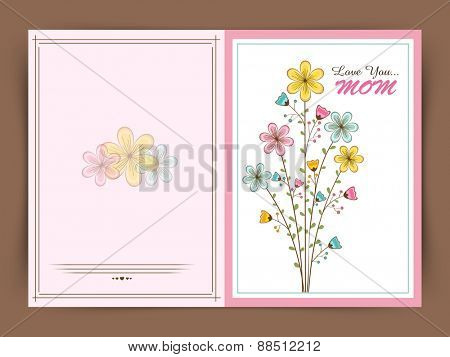 Flowers decorated beautiful greeting card design for Happy Mother's Day celebration.