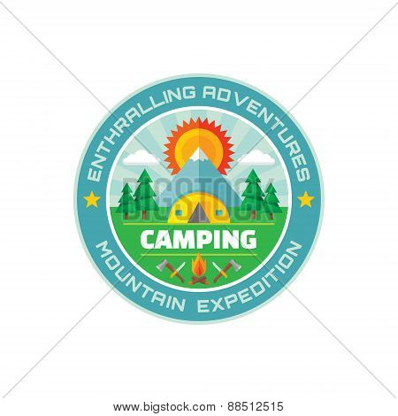 Camping - enthralling adventures - mountain expedition - vector badge illustration in flat style.