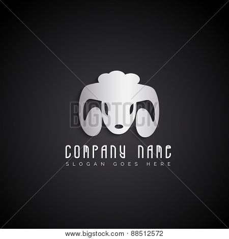 Sheep mascot, business symbol on grey background for your business.