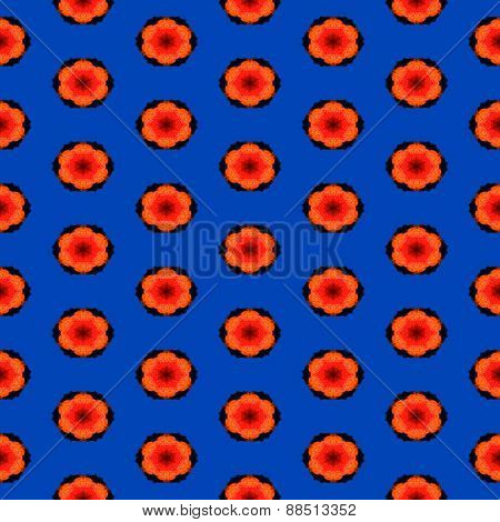Seamless Abstract Pattern With Red Polka-like Dots On The Blue Background