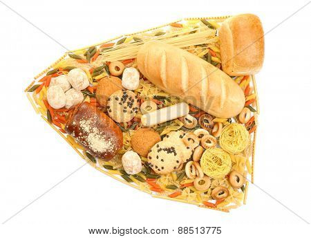 Bread, pasta and bakery products isolated on white