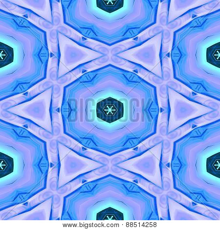 Seamless Abstract Blue Geometric Texture Or Background With Christmas Pattern