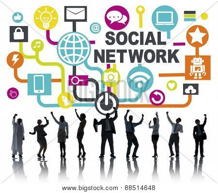 Business People Celebration Connection Communication Social Network Concept