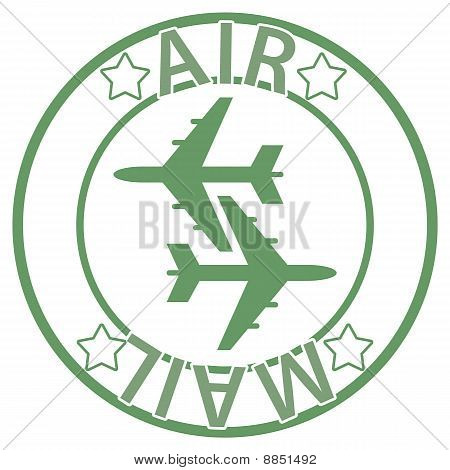 Air Mail seal - green color