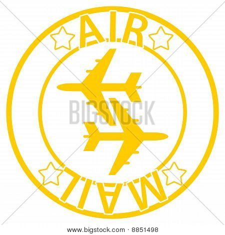Air Mail seal - orange, yellow color