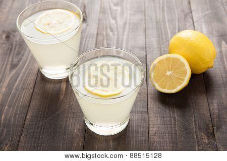 Freshly Squeezed Lemon Juice In Glasses.