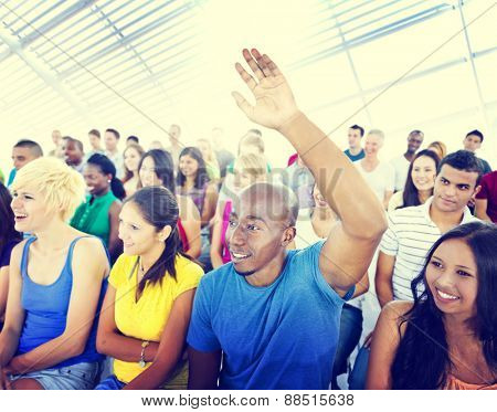 Group People Casual Learning Lecture Hand Raised Concept