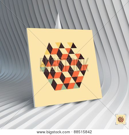 Business card. 3d vector illustration. Hexagon shape with cubes inscribed. Can be used for advertising, marketing, presentation.