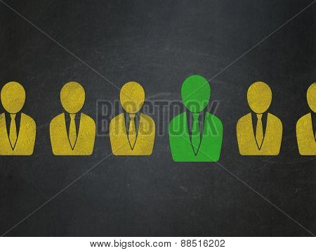Finance concept: business man icon on School Board background