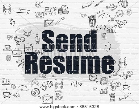 Business concept: Send Resume on wall background