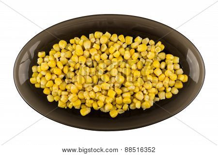 Sweet Canned Corn In Black Oval Glass Dish
