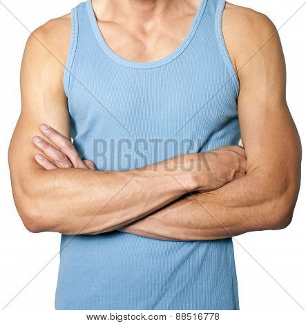 Male Torso With Blue T-shirt