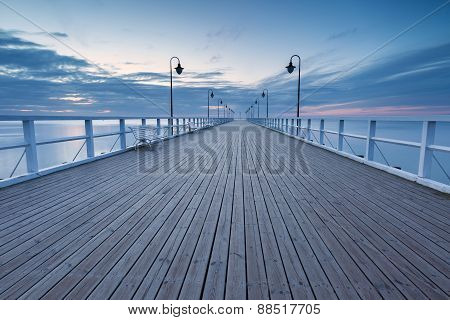 Beautiful Long Exposure Seascape With Wooden Pier