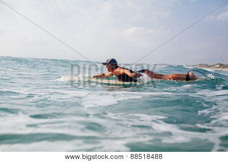 Woman Surfer Swimming In Sea
