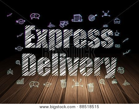 Finance concept: Express Delivery in grunge dark room