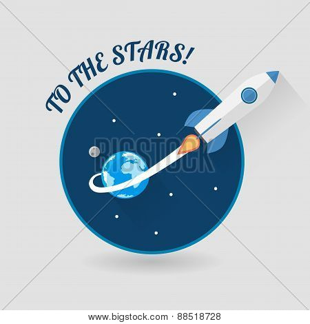 Start Up Concept Space Rocket Modern Flat Design