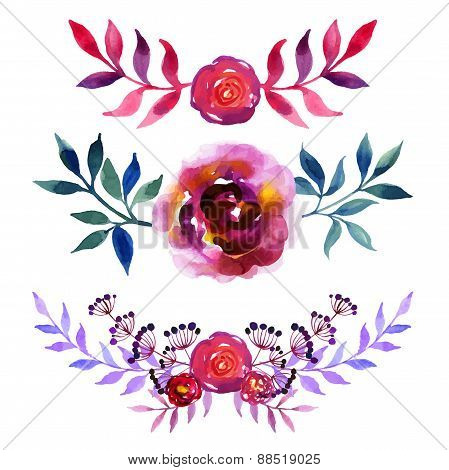 Set of beautiful watercolor flowers