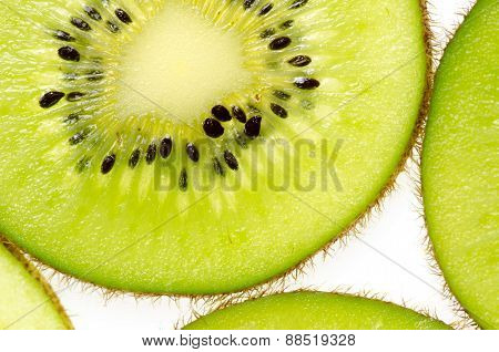 Sliced Of Green Kiwi Fruit Kiwi Fruit On White Background