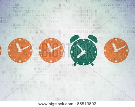 Timeline concept: green alarm clock icon on digital background