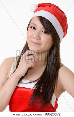 Asian Christmas girl, closeup portrait on white background.
